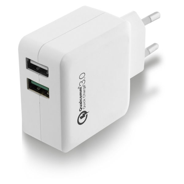 Carregador usb ac charger, quick charge 3.0 qualcomm e smart ic, 2 ports, 4a (20 - Ewent EW1233